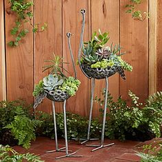 Recycled Metal Ostrich Planter. I would love to try to figure this out