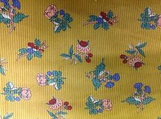 CLEARANCE: Floral Printed Yellow Corduroy  108 cms - 260 gsm - Unique!!
