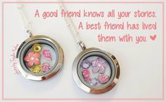 """Share the """"Best Friends"""" Charm with your best friend. What's better than matching lockets? {Origami Owl}  Kris Wickard - Independent Designer. Facebook at What's Your Story Lockets or website at www.kriswickard.origamiowl.com."""