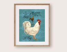 Rustic Kitchen Wall Decor, Kitchen Wall Art, Art Prints For Sale, Wall Art Prints, Turquoise Home Decor, Rooster Art, Rooster Kitchen, Art Story, Cow Art