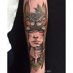 Owl Cowl Tattoo by Daniels Bauti