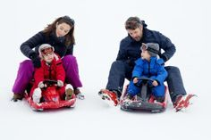 Mary & Frederik with the twins, Verbier 14 February 2014.