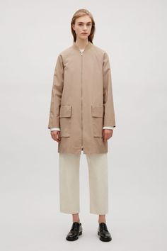 COS image 1 of Coat with ribbed neckline in Beige