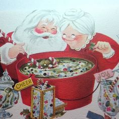 B683 Vintage Xmas Greeting Card Mr Mrs Claus Making Candied Holiday Punch | eBay  (499 x 500)