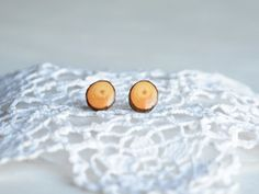 Minimalist wooden earrings made from natural by MyPieceOfWood, $16.00