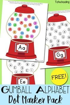 FREE printable Alphabet recognition activity with gumball machines. Find & dot the letter written on each gumball machine, then dot all the remaining letters with different colors while calling them out.