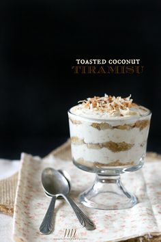 Toasted Coconut Tiramisu - yum! (And there's coconut coffee in it, I've died and gone to heaven!)