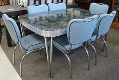 Chrome Vintage 1950 S Formica Kitchen Table And Chairs Teal Mint
