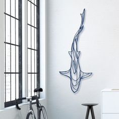 Shark Wooden Wall Art - Display your love of the deep blue sea with the Shark Wooden Wall Art! A fitting tribute to the magnificence of the most feared underwater predator, this designer wall art Shark Tattoos, Hammerhead Shark Tattoo, Simple Line Drawings, Wooden Wall Art, 3d Wall Art, Wall Art Sculpture, Colorful Wall Art, Wooden Signs, Wire Art
