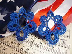 Handmade tatting earrings dark blue with beads by ShopGift, $18.00