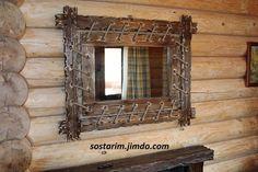 Зеркало под старину на подвесах из каната