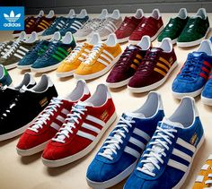CLASSIC ADIDAS TRAINERS LIKE THESE IN THE PHOTO WERE INTRODUCED BY ADIDAS BACK IN 1968 (GAZELLES) AND OTHERS CLASSIC STYLES WERE ADDED DURING THE 70's AND 80's LIKE HAMBURGS, SAMBAS, MAMBAS, TRIM TRABS, BECKENBAUERS, ROMS ETC. THEY FOUND FAVOUR WITH THE STYLISH YOUTH AT THE END OF THE MOD ERA AND INTO THE 70's AND 80's WITH THE FOOTBALL CASUALS, OFTEN WORN IN CONJUNCTION WITH EXPENSIVE SPORTSWEAR. THIS STARTED WITH LIVERPOOL FANS RETURNING FROM EUROPEAN GAMES LADEN WITH EXPENSIVE SPORTSWEAR