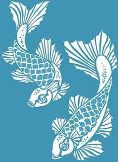Koi Carp Stencil. Fish Stencils -  que stencil lindo, sonho de consumo