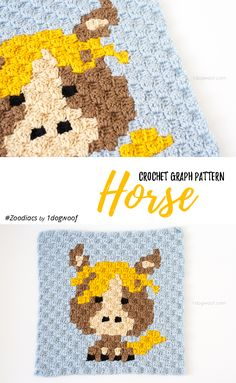 """Make this cute horsey square with Lion Brand Vanna's Choice! Free C2C crochet pattern by One Dog Woof - find even more animals in her """"Zoodiacs"""" series!"""