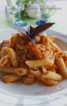 Penne al sugo di carne alla siciliana