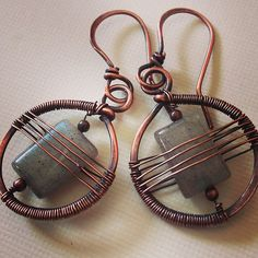 Copper and labradorite | Flickr - Photo Sharing! Earrings by Aniko Sandor
