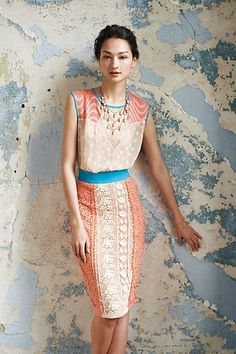 This dress is so beautiful. I love the pop of blue. #anthropologie #anthrofave: