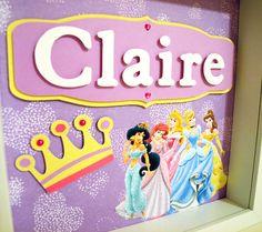 Disney Princess - Personalized Room Decor - 6 Different Backgrounds - Children's, Kids's, Girl's Room Art. $35.00, via Etsy.