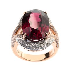 Constanza - Oval mixed cut Rhodolite Garnet framed by 220 brilliant round diamonds and set on 18ct white & rose gold.