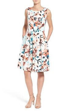 Ivanka Trump Floral Print Fit & Flare Dress available at #Nordstrom