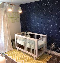 Constellations pattern Kids room wallpaper Dark and elegant Space Themed Nursery, Nursery Themes, Nursery Room, Nursery Decor, Nursery Ideas, Outer Space Nursery, Nursery Design, Baby Bedroom, Baby Boy Rooms