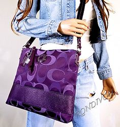 discount coach designer bags 5s1r  I have never wanted a Coach purse beforethis one I would carry, for  sure! My colorCoach Multi Purple Signature Sexiest Ever Hippie Crossbody  Bag Purse