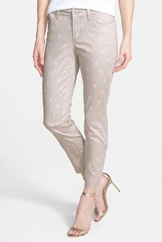 NYDJ New Beige Women 039 s Size 8 x 27 Cropped Dragonfly Print Ankle Pants $130 | eBay