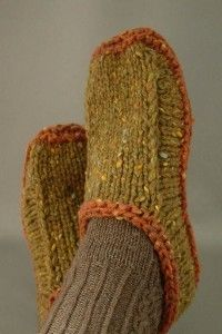 Here is a free pattern for non-felted slippers you can knit. Making them with colored yarns that suit the person you make them for gives them personality