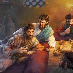 El apóstol Juan recostado en el seno de Jesucristo durante la cena de la Pascua