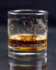 Night Sky Star Chart Double Old-Fashioned Glasses (Pair) - Cognitive Surplus - 3 Gifts For Professors, Whiskey Glasses, Coffee Glasses, Star Chart, In Vino Veritas, Deco Table, Simple Elegance, Liquor, Shot Glass