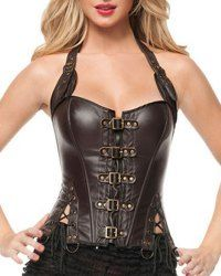 Sexy Halter Solid Color PU Leather Corset For Women