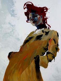 yellow - woman - Bruce Holwerda - figurative painting