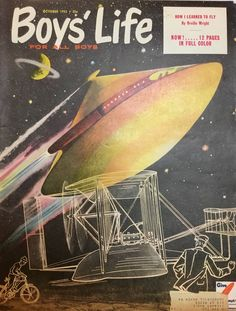 Boys Life Vintage Magazine Cover, October 1953 inches, by William Heaslip, Excellent Condition! Boys Life, Learn To Fly, Prints For Sale, Life Space, October, Space Ship, Magazine Covers, Printmaking, Science Fiction