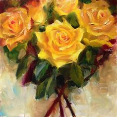 """Daily Paintworks - """"Yellow Roses"""" - Original Fine Art for Sale - © Dorothy Woolbright"""