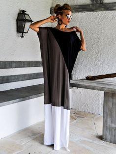 Black & Gray Maxi Dress / Black Gray Kaftan / Plus Size Dress / Oversize Loose Dress / #35076