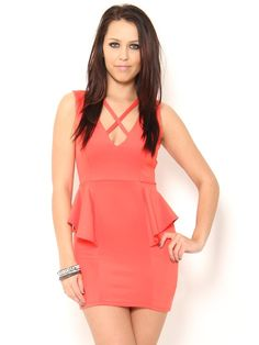 #Coral #Peplum Dress