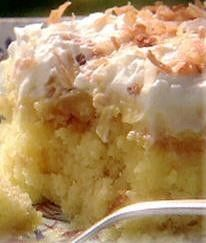 'Better Than Anything' Cake Recipe using crushed pineapple, vanilla pudding mix & whipped topping.