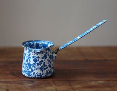 Vintage Mid Century Blue and White Speckled by BehindTheScreenDoor, $12.00