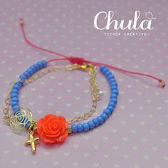 Chula tienda creativa https://www.facebook.com/ChulaTiendaCreativa? ¡Para que nunca pases desapercibida! Pulsera #rosa vibrante (Oro goldfield) #neon #azul #pulsera
