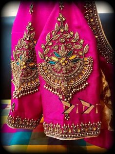 blouse designs 10 Beautiful Blouse Sleeve Designs For 2019 Cutwork Blouse Designs, Simple Blouse Designs, Stylish Blouse Design, Bridal Blouse Designs, Blouse Neck Designs, Sleeve Designs, Pattu Saree Blouse Designs, Blouse Designs Catalogue, Hand Work Blouse Design