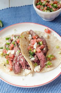 Spicy Steak Tacos with Watermelon Salsa by Pink Parsley