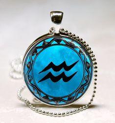 Aquarius Blue Moon Zodiac Symbol Pendant, Aquarius Zodiac Necklace Astrology Horoscope Jewelry Necklace Pendant (PD0463)