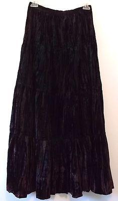 Women's Long Crinkle Skirt M Crushed Velvet Eggplant Purple Tiered Boho Express | eBay