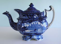Fine Historical Staffordshire ~ WADSWORTH TOWER ~ Blue Transferware Teapot c1830