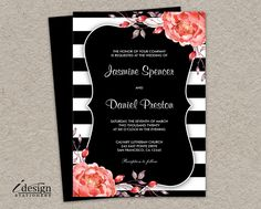 Printable Black And White Stripe Wedding Invitation With Coral Watercolor Peonies | DIY Botanical Striped Wedding Invitations With Flowers by iDesignStationery on Etsy