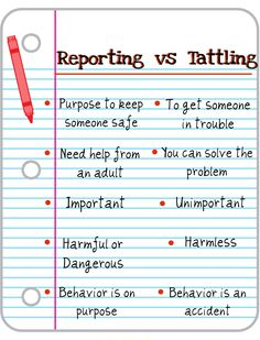 Reporting vs. tattling. Great way to explain this to the kids.