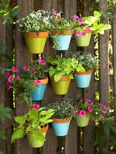Add a splash of color to a drab fence with an arrangement of hanging flowerpots. Use a tape measure to map a design on the fence, then attach store-bought pot hangers. Spray-paint the pots with bold, look-at-me colors, and fill them with annuals to create affordable outdoor art.