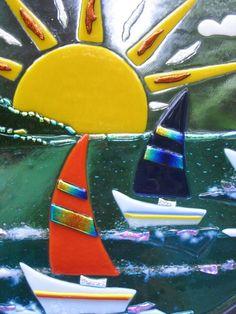 RAINBOW PASS - fused glass art decor sculpture sailboats