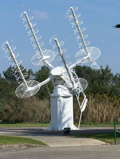 A helical antenna is an antenna consisting of a conducting wire wound in the form of a helix. In most cases, helical antennas are mounted over a ground plane.