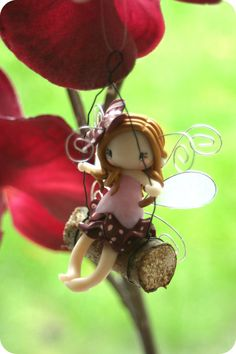 Fairy Figurine on a Swing by TheDollAndThePea on Etsy